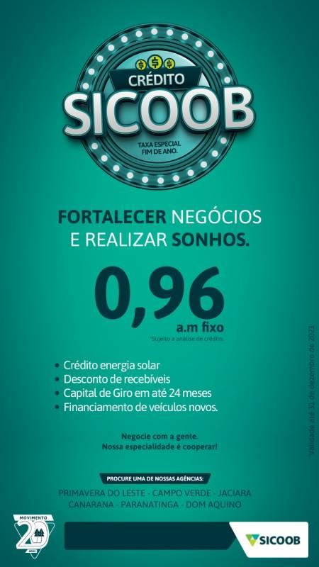 Sicoob lança campanha com taxa fixa de 0,96% em várias modalidades de crédito